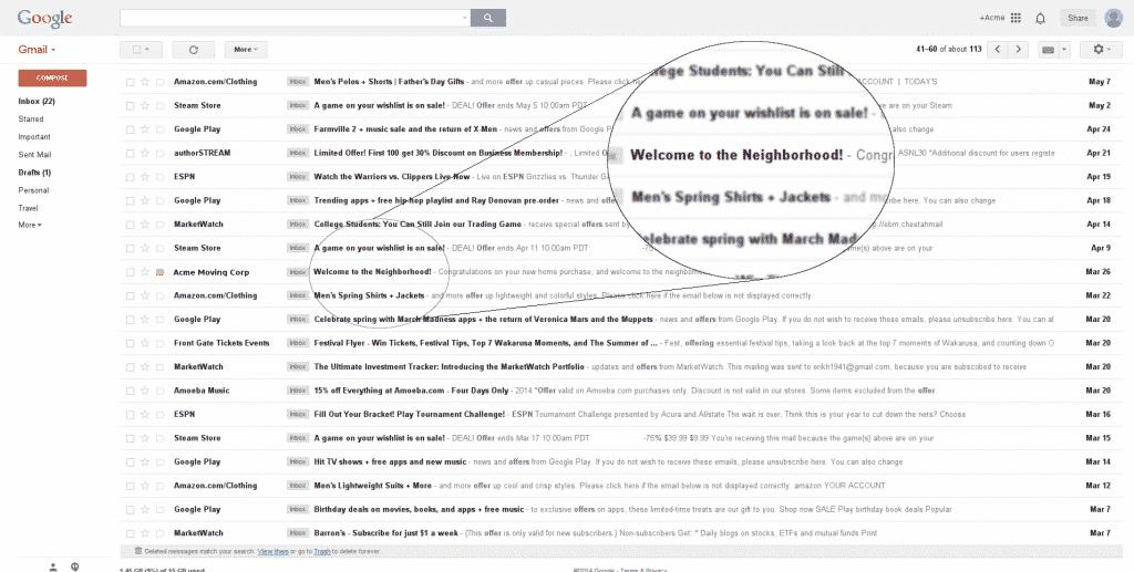 Google Email Screenshot