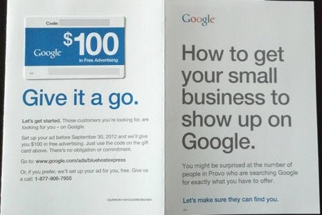 Direct Mail Piece from Google